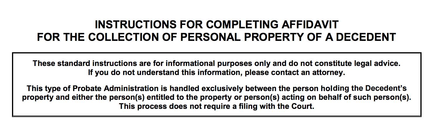 small estate affidavit